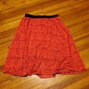 "LuLaRoe ""Lola"" Skirt, Red Lace Overlay, Sz Medium"